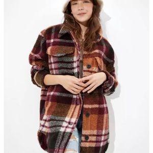 American Eagle Oversized Plaid Fleece Teddy Jacket
